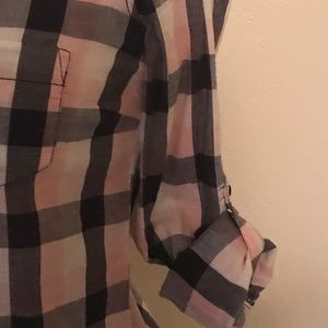 Pink and Navy Plaid Button Up